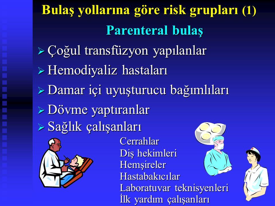 Bulaş yollarına göre risk grupları (1)