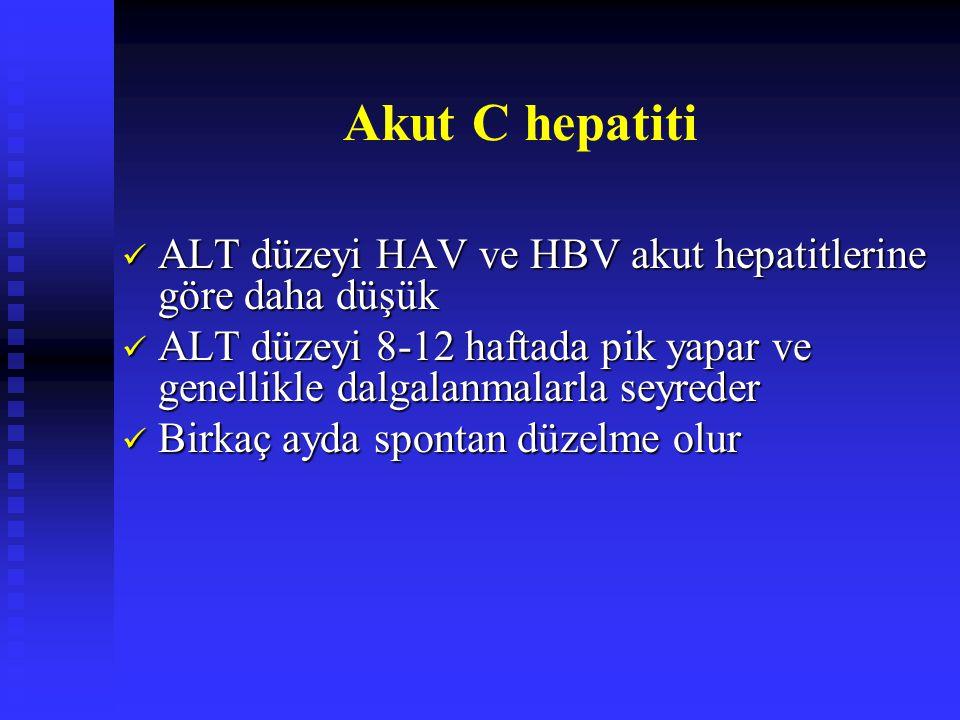 Akut C hepatiti ALT düzeyi HAV ve HBV akut hepatitlerine göre daha düşük. ALT düzeyi 8-12 haftada pik yapar ve genellikle dalgalanmalarla seyreder.