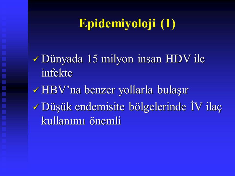 Epidemiyoloji (1) Dünyada 15 milyon insan HDV ile infekte