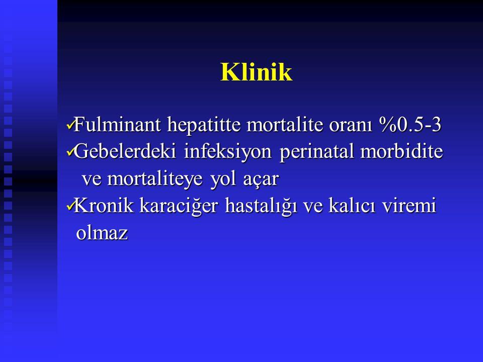 Klinik Fulminant hepatitte mortalite oranı %0.5-3