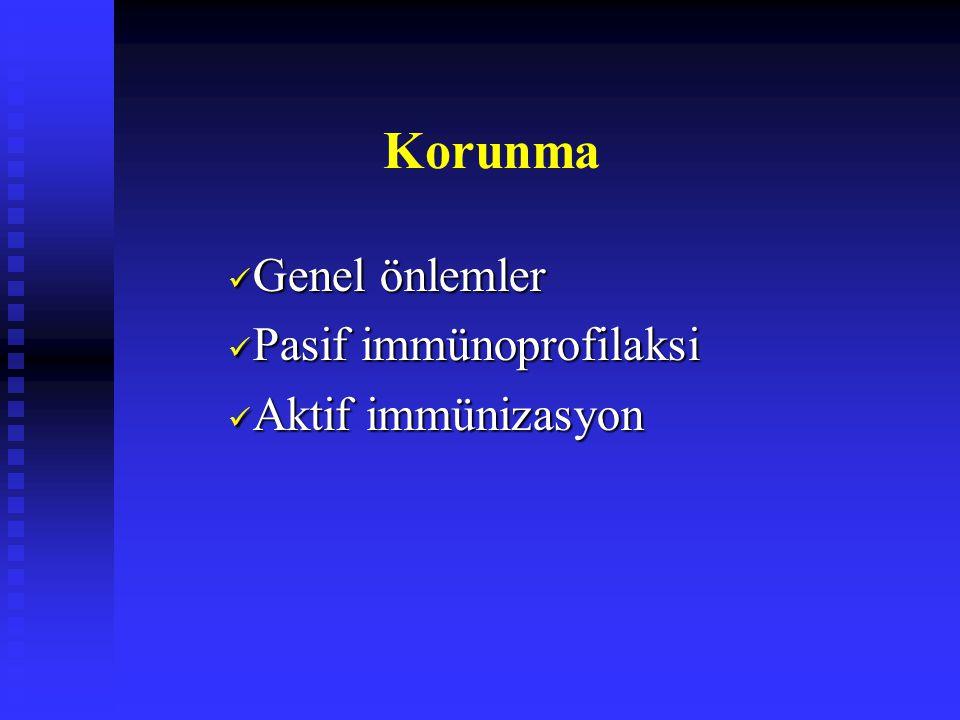 Korunma Genel önlemler Pasif immünoprofilaksi Aktif immünizasyon