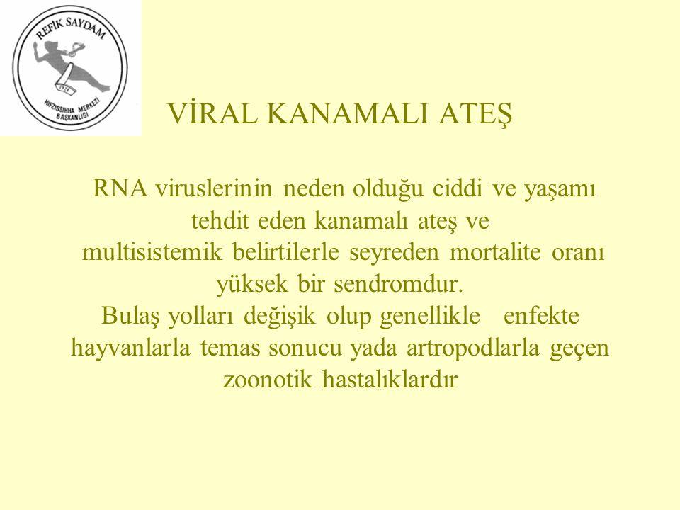 VİRAL KANAMALI ATEŞ RNA viruslerinin neden olduğu ciddi ve yaşamı tehdit eden kanamalı ateş ve multisistemik belirtilerle seyreden mortalite oranı yüksek bir sendromdur.