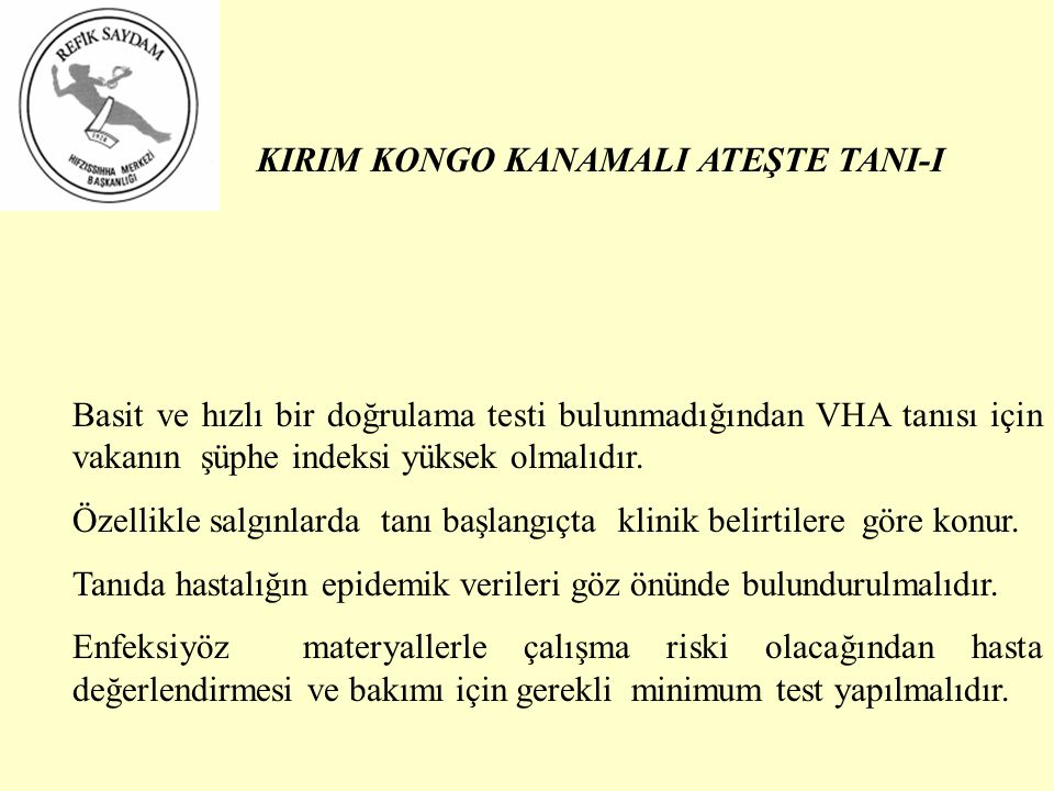 KIRIM KONGO KANAMALI ATEŞTE TANI-I
