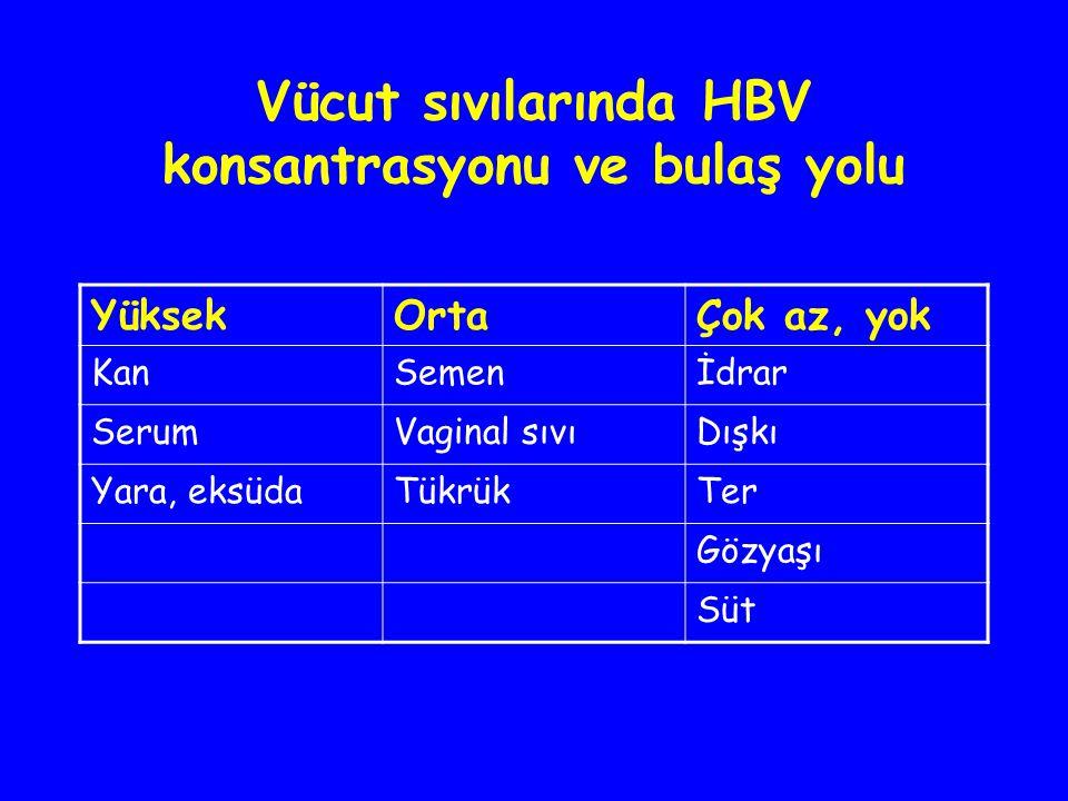 Vücut sıvılarında HBV konsantrasyonu ve bulaş yolu