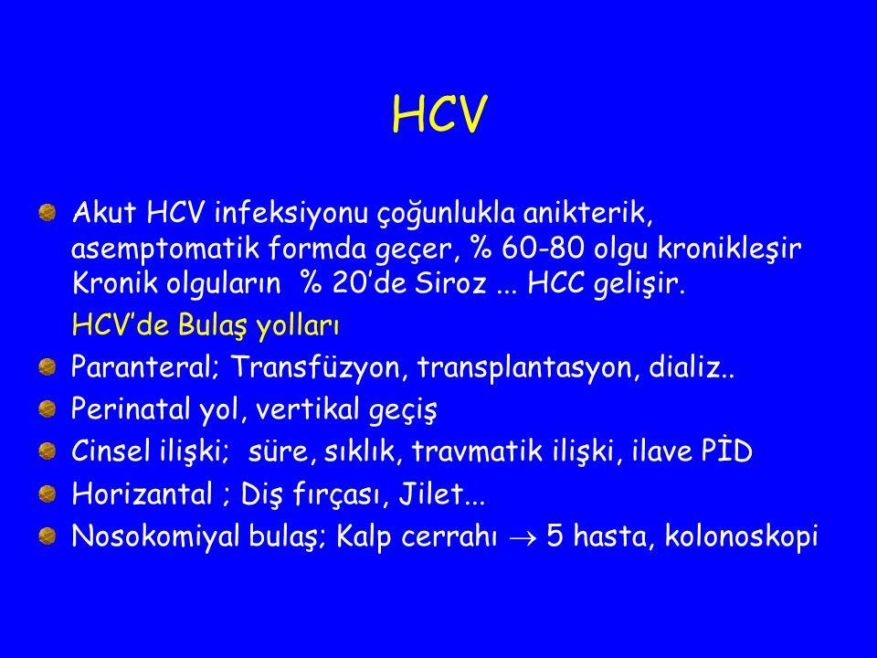 HCV Akut HCV infeksiyonu çoğunlukla anikterik, asemptomatik formda geçer, % 60-80 olgu kronikleşir Kronik olguların % 20'de Siroz ... HCC gelişir.
