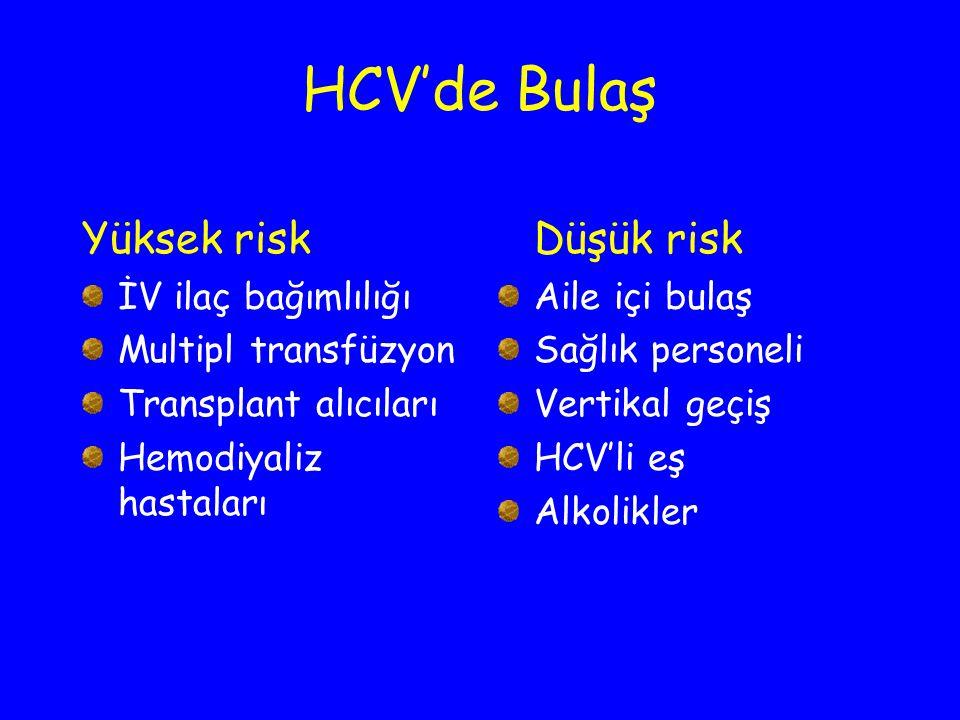 HCV'de Bulaş Yüksek risk Düşük risk İV ilaç bağımlılığı