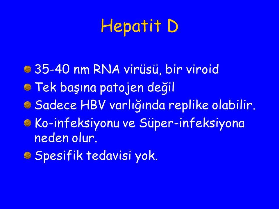 Hepatit D 35-40 nm RNA virüsü, bir viroid Tek başına patojen değil
