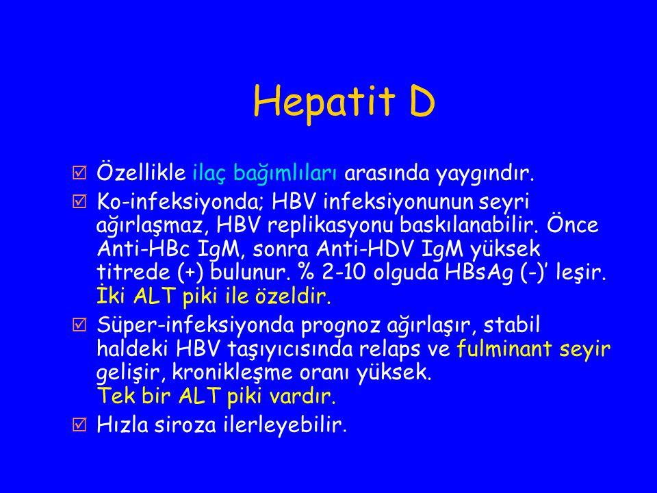 Hepatit D Özellikle ilaç bağımlıları arasında yaygındır.