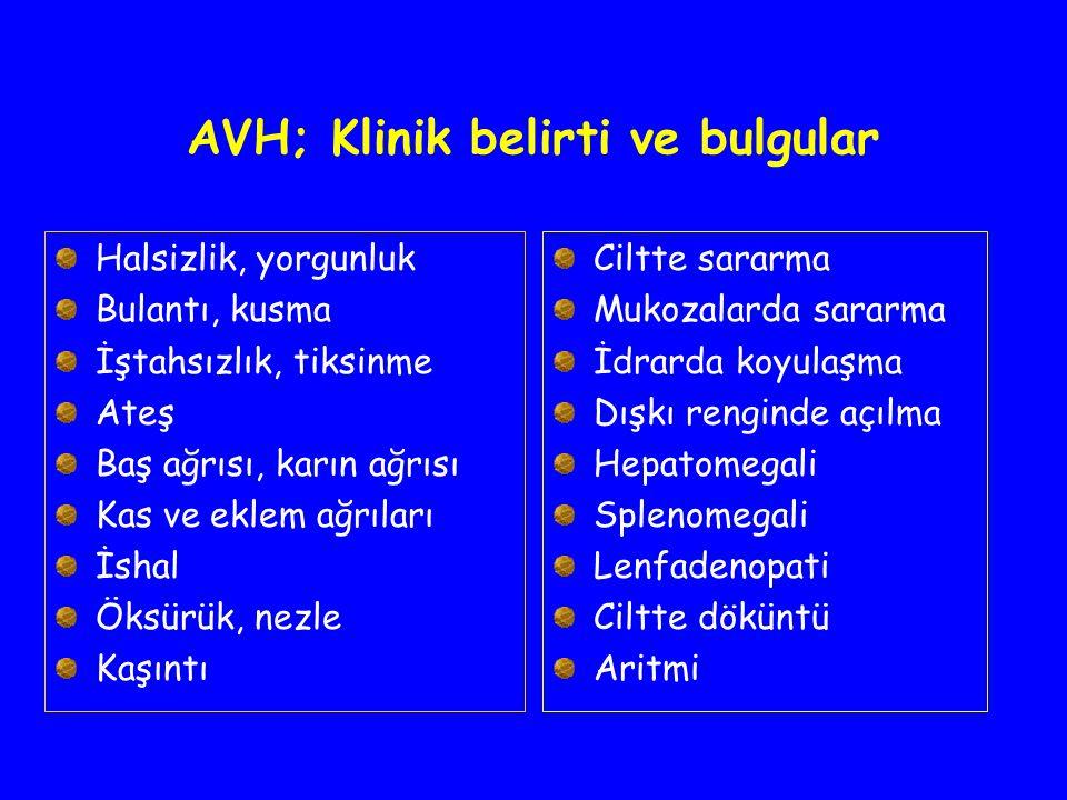 AVH; Klinik belirti ve bulgular