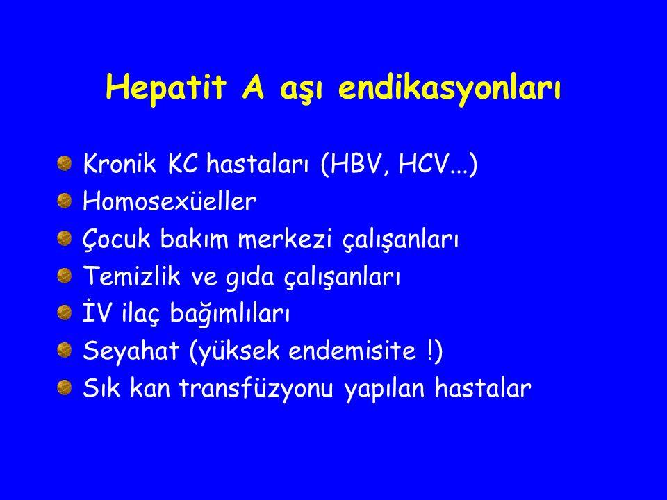 Hepatit A aşı endikasyonları