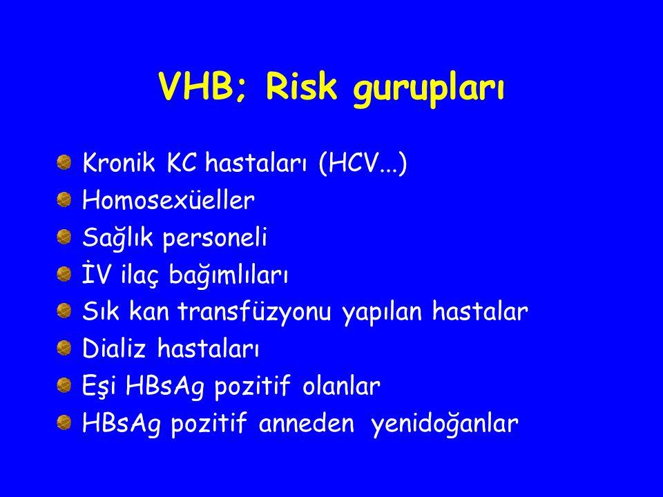 VHB; Risk gurupları Kronik KC hastaları (HCV...) Homosexüeller