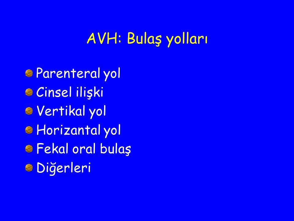 AVH: Bulaş yolları Parenteral yol Cinsel ilişki Vertikal yol