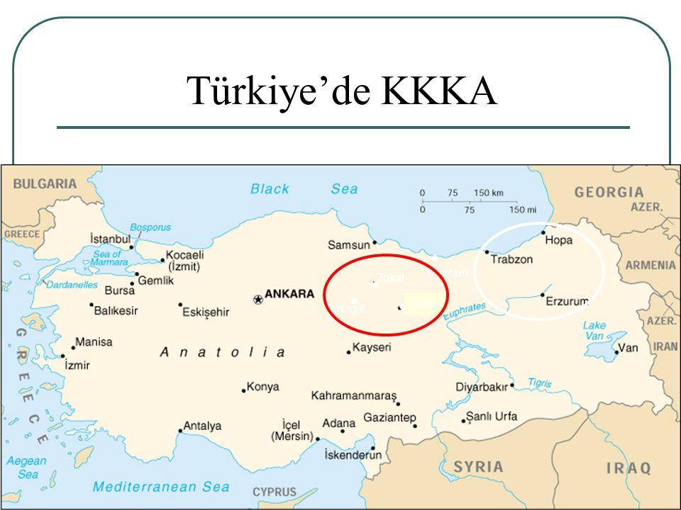 Türkiye'de KKKA Giresun Tokat Sivas Yozgat