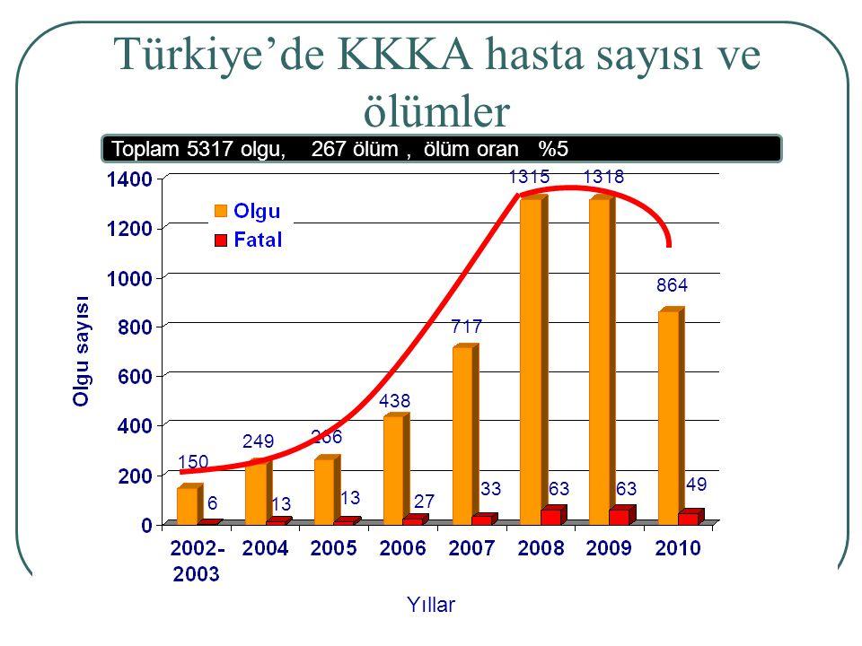 Türkiye'de KKKA hasta sayısı ve ölümler
