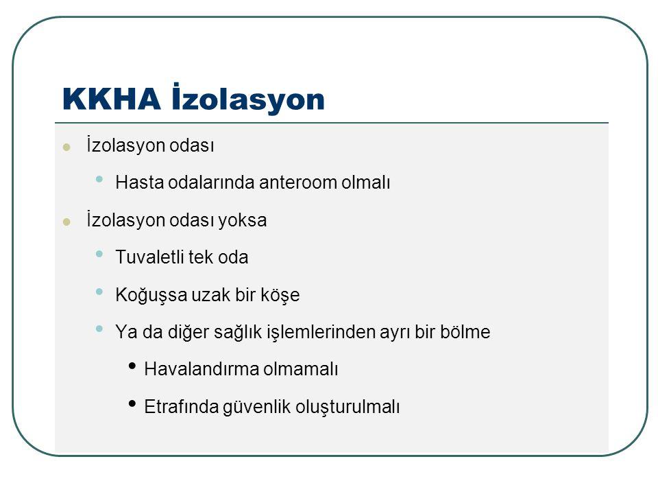 KKHA İzolasyon İzolasyon odası Hasta odalarında anteroom olmalı