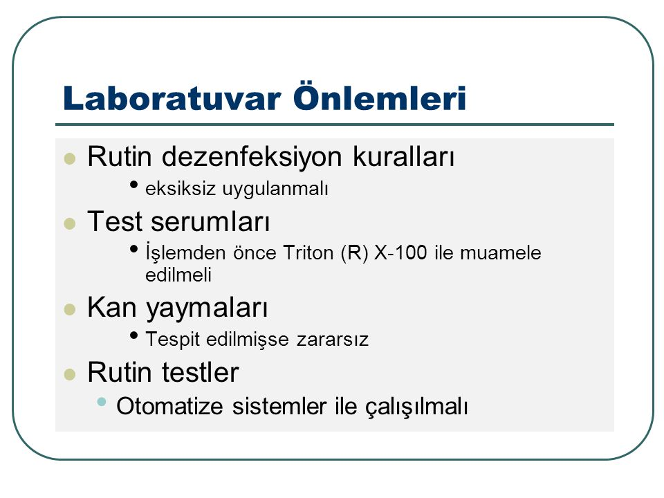 Laboratuvar Önlemleri