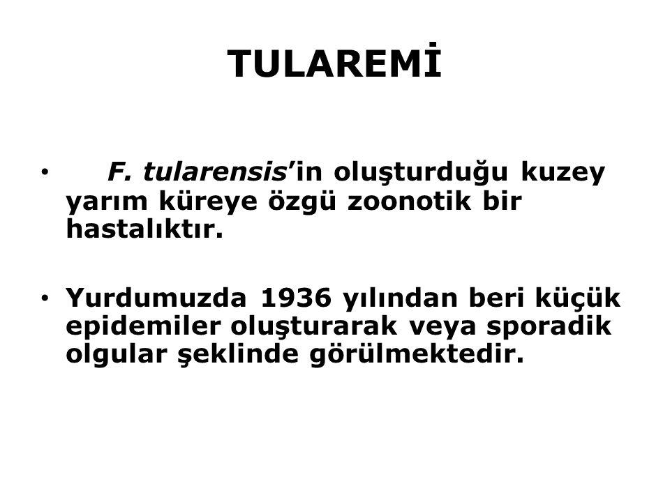 TULAREMİ F. tularensis'in oluşturduğu kuzey yarım küreye özgü zoonotik bir hastalıktır.