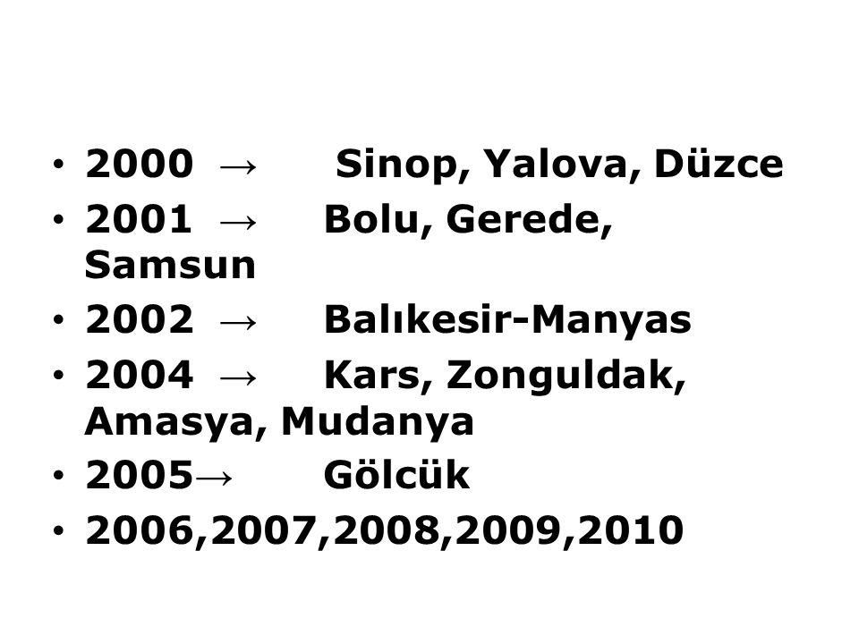2000 → Sinop, Yalova, Düzce 2001 → Bolu, Gerede, Samsun. 2002 → Balıkesir-Manyas. 2004 → Kars, Zonguldak, Amasya, Mudanya.