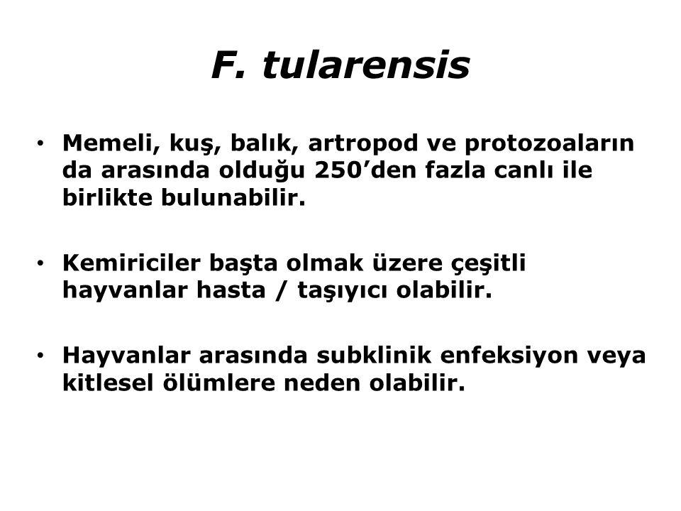 F. tularensis Memeli, kuş, balık, artropod ve protozoaların da arasında olduğu 250'den fazla canlı ile birlikte bulunabilir.