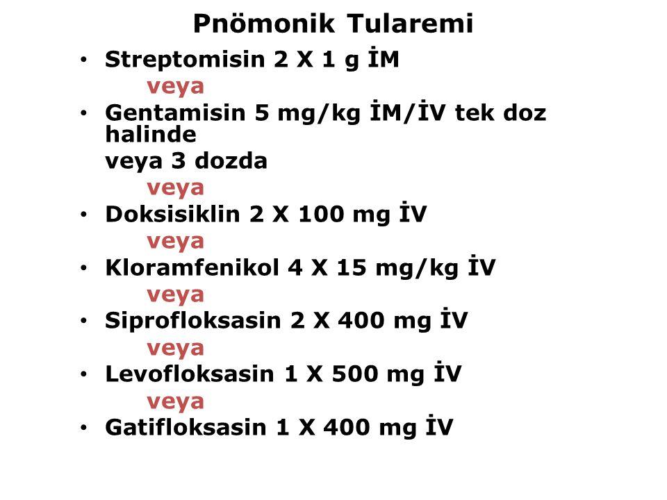 Pnömonik Tularemi Streptomisin 2 X 1 g İM veya