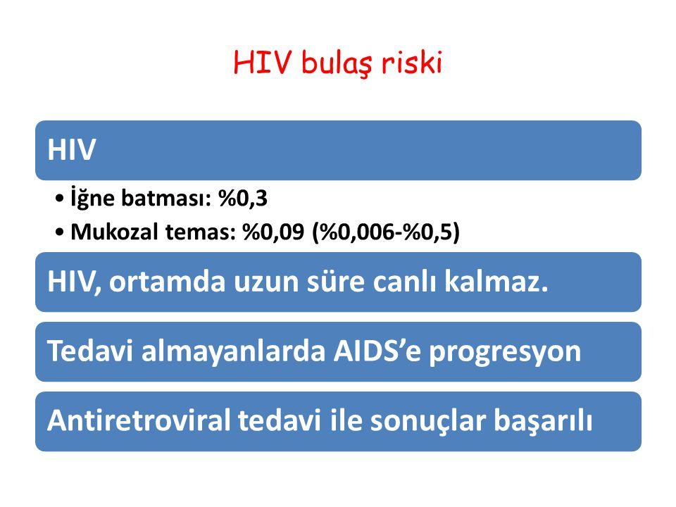 HIV bulaş riski HIV İğne batması: %0,3