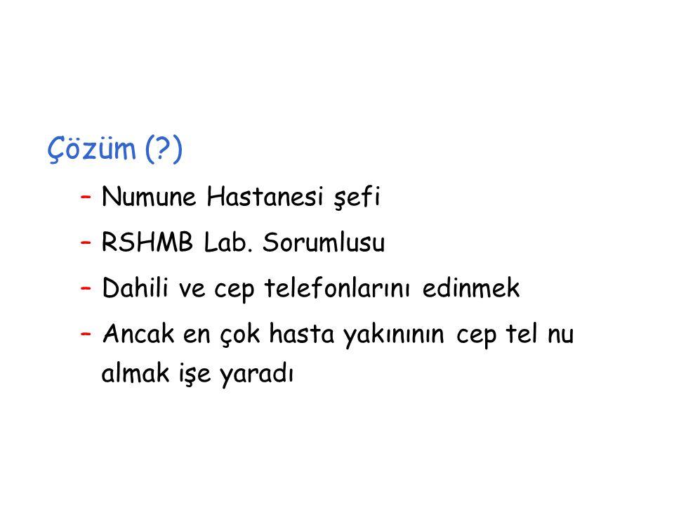 Çözüm ( ) Numune Hastanesi şefi RSHMB Lab. Sorumlusu