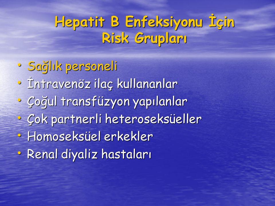 Hepatit B Enfeksiyonu İçin Risk Grupları