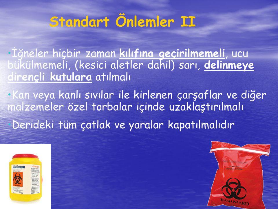 Standart Önlemler II İğneler hiçbir zaman kılıfına geçirilmemeli, ucu bükülmemeli, (kesici aletler dahil) sarı, delinmeye dirençli kutulara atılmalı.