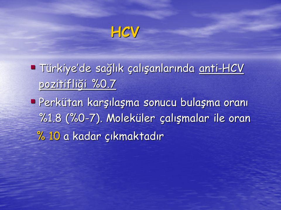 HCV Türkiye'de sağlık çalışanlarında anti-HCV pozitifliği %0.7