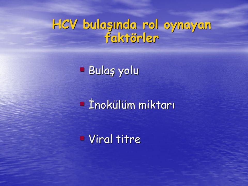 HCV bulaşında rol oynayan faktörler
