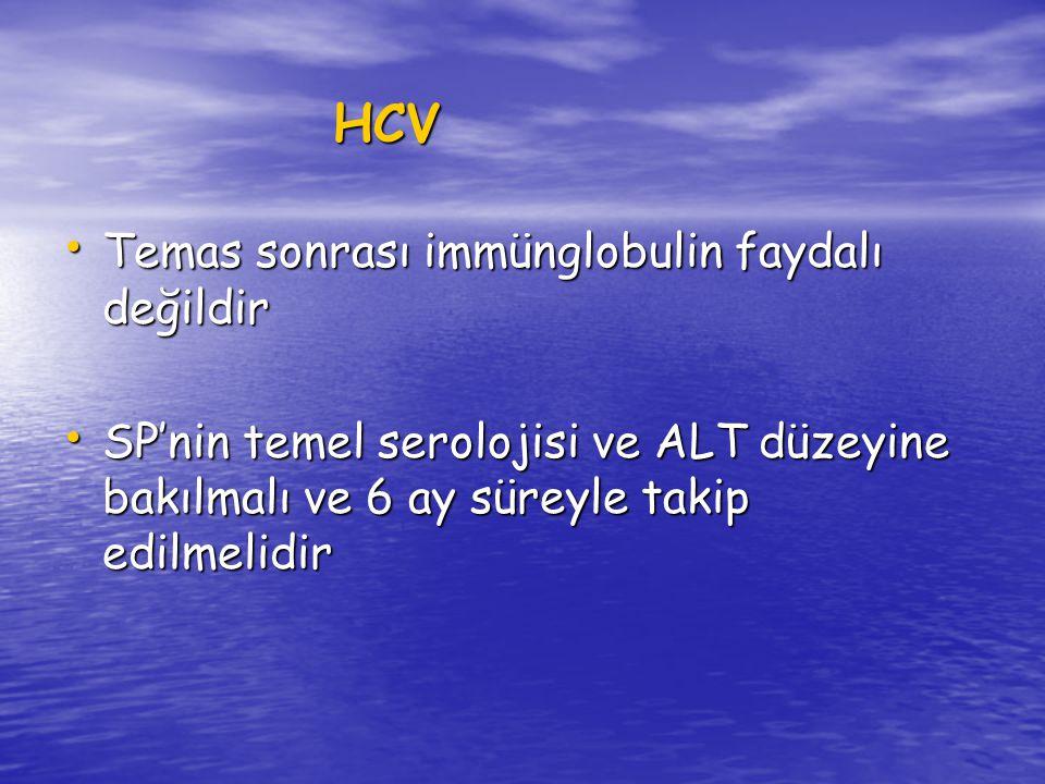 HCV Temas sonrası immünglobulin faydalı değildir