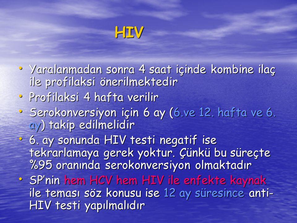 HIV Yaralanmadan sonra 4 saat içinde kombine ilaç ile profilaksi önerilmektedir. Profilaksi 4 hafta verilir.