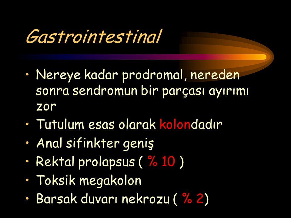 Gastrointestinal Nereye kadar prodromal, nereden sonra sendromun bir parçası ayırımı zor. Tutulum esas olarak kolondadır.