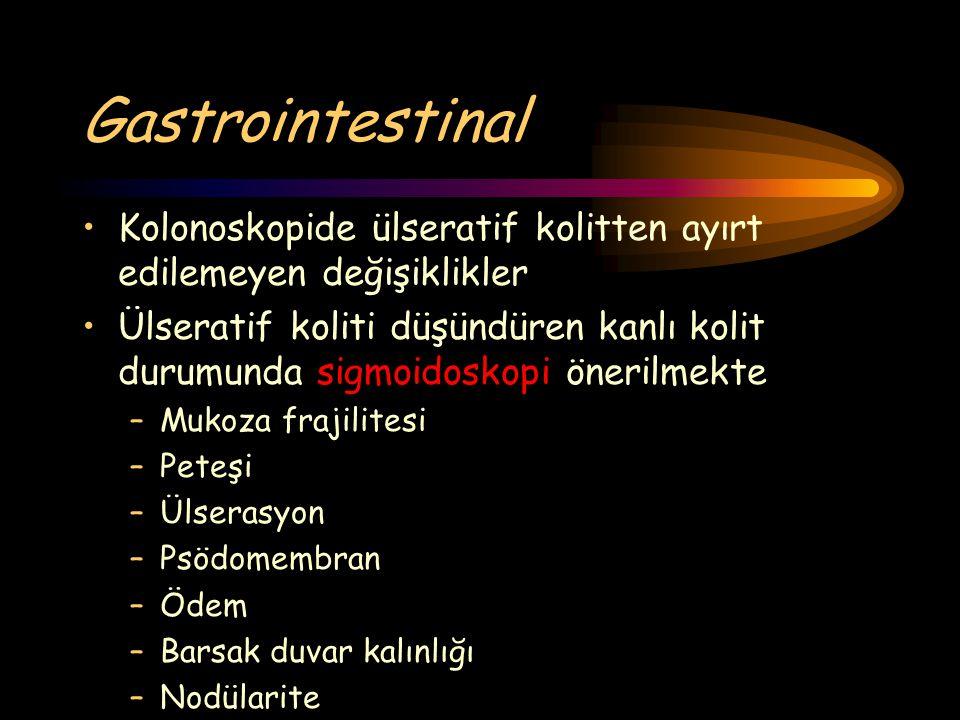 Gastrointestinal Kolonoskopide ülseratif kolitten ayırt edilemeyen değişiklikler.