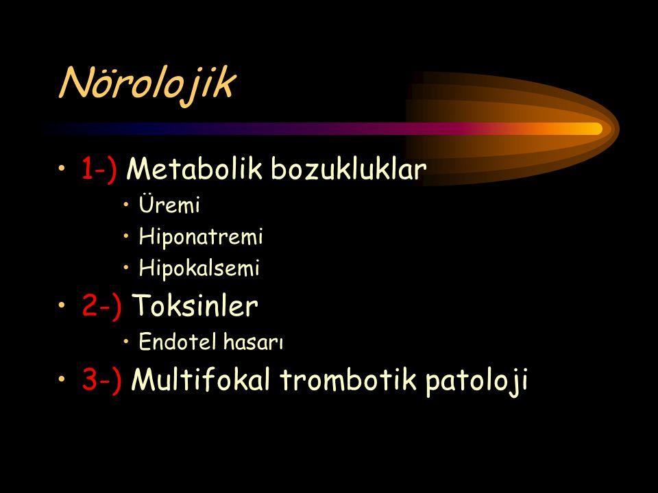 Nörolojik 1-) Metabolik bozukluklar 2-) Toksinler