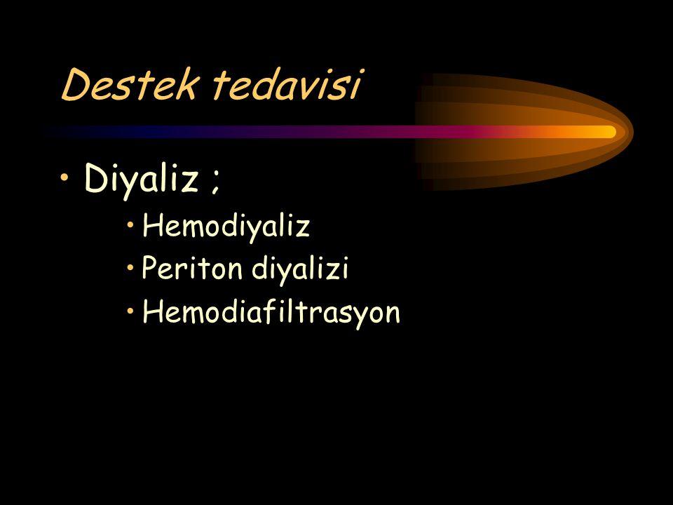 Destek tedavisi Diyaliz ; Hemodiyaliz Periton diyalizi