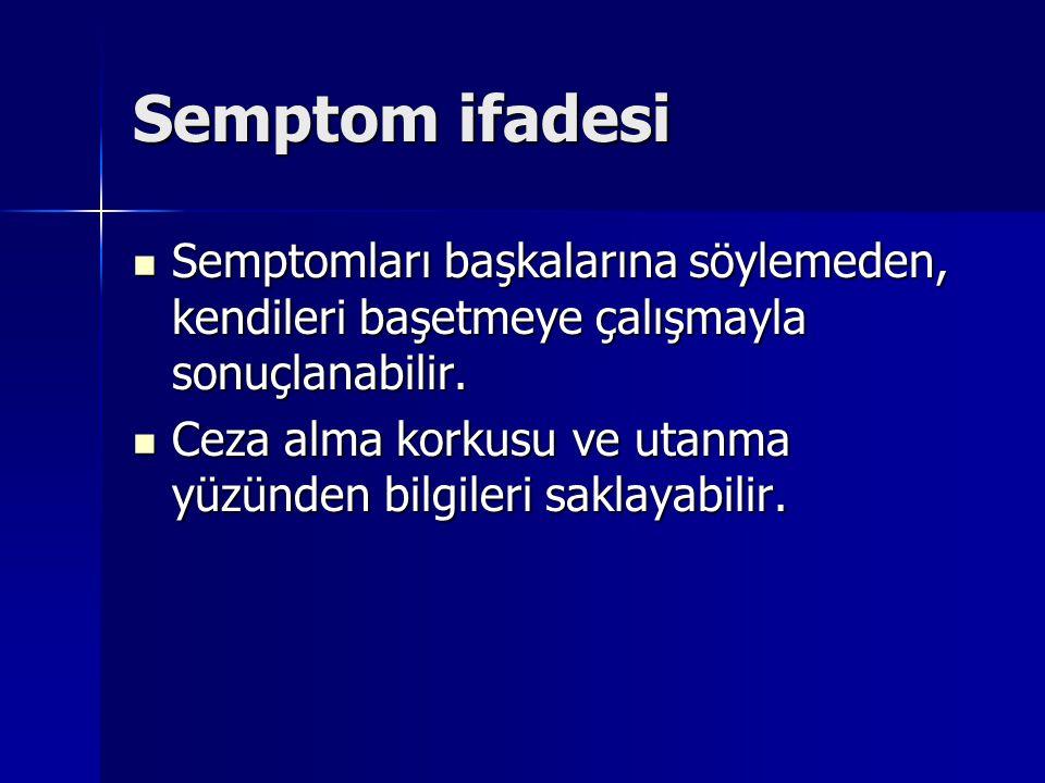Semptom ifadesi Semptomları başkalarına söylemeden, kendileri başetmeye çalışmayla sonuçlanabilir.