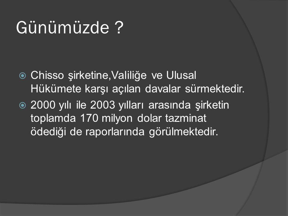 Günümüzde Chisso şirketine,Valiliğe ve Ulusal Hükümete karşı açılan davalar sürmektedir.