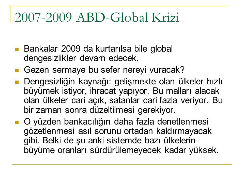 2007-2009 ABD-Global Krizi Bankalar 2009 da kurtarılsa bile global dengesizlikler devam edecek. Gezen sermaye bu sefer nereyi vuracak