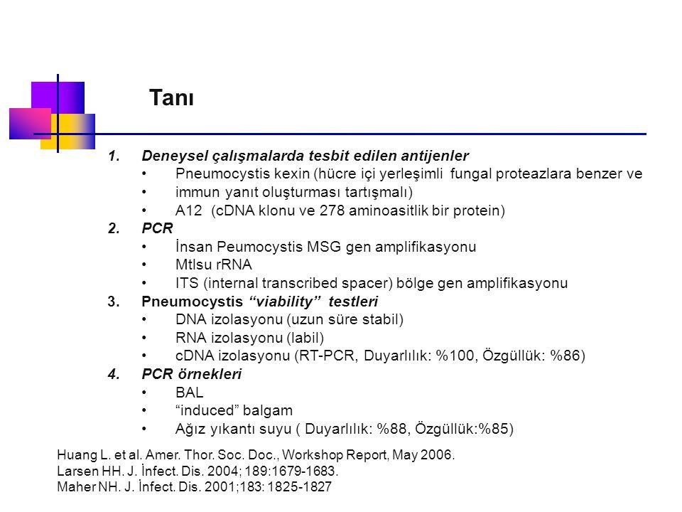 Tanı Deneysel çalışmalarda tesbit edilen antijenler