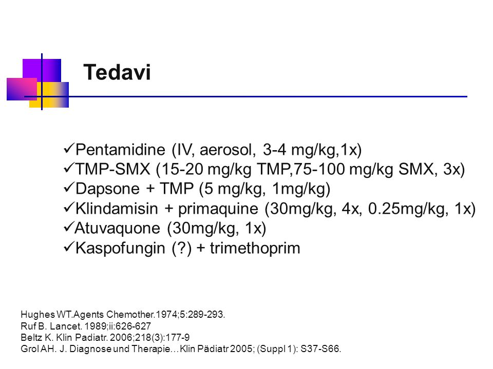 Tedavi Pentamidine (IV, aerosol, 3-4 mg/kg,1x)