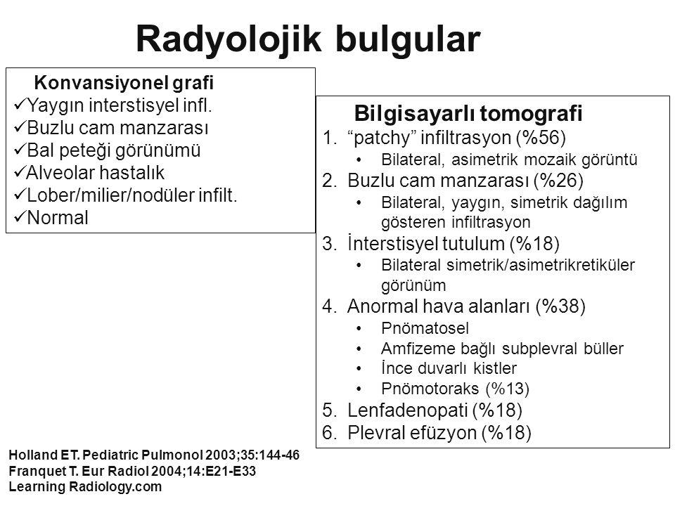 Radyolojik bulgular Bilgisayarlı tomografi Konvansiyonel grafi