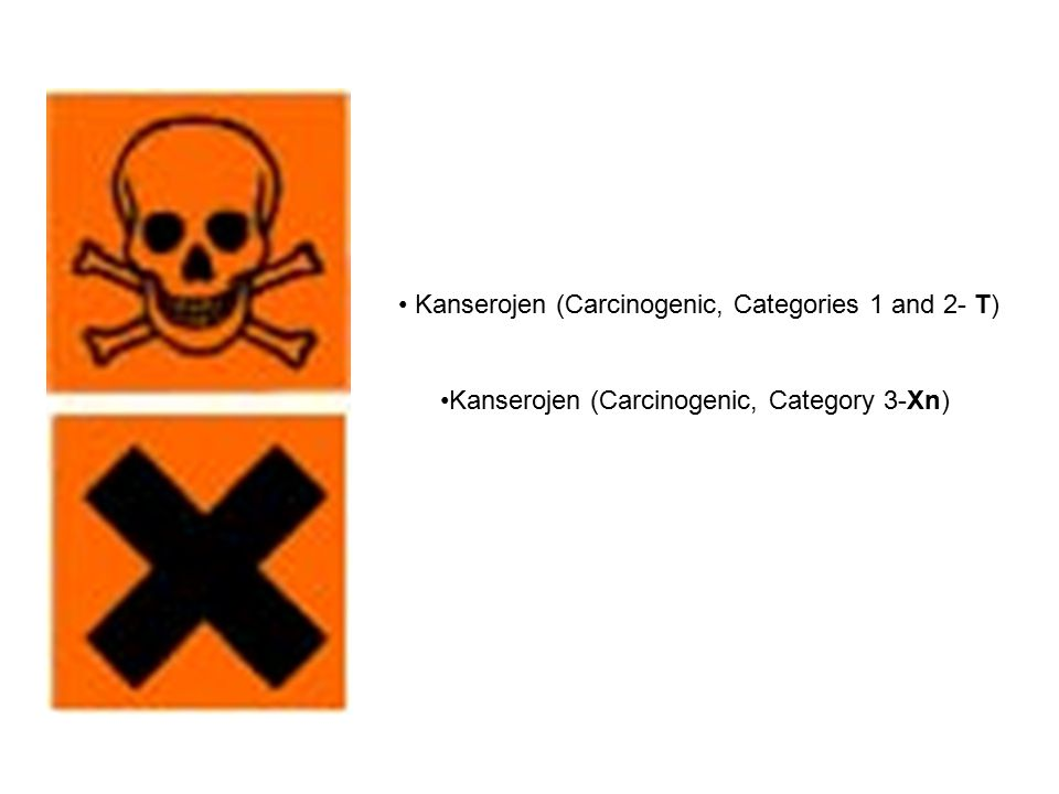• Kanserojen (Carcinogenic, Categories 1 and 2- T)