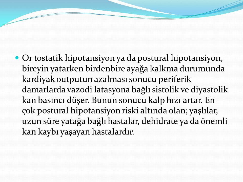 Or tostatik hipotansiyon ya da postural hipotansiyon, bireyin yatarken birdenbire ayağa kalkma durumunda kardiyak outputun azalması sonucu periferik damarlarda vazodi latasyona bağlı sistolik ve diyastolik kan basıncı düşer.