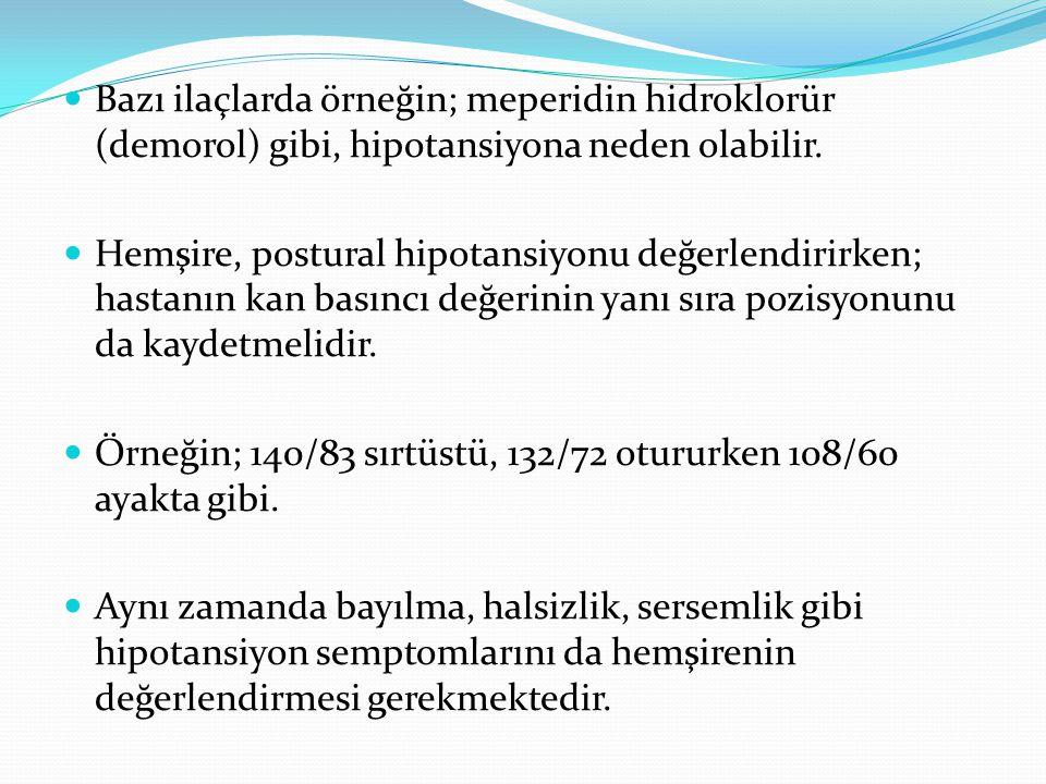 Bazı ilaçlarda örneğin; meperidin hidroklorür (demorol) gibi, hipotansiyona neden olabilir.