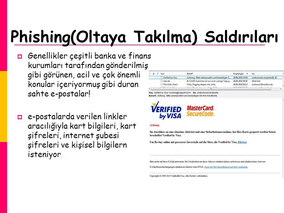 Phishing(Oltaya Takılma) Saldırıları