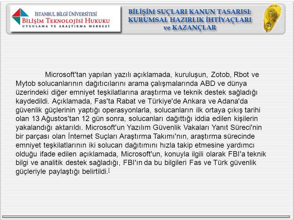 Microsoft tan yapılan yazılı açıklamada, kuruluşun, Zotob, Rbot ve Mytob solucanlarının dağıtıcılarını arama çalışmalarında ABD ve dünya üzerindeki diğer emniyet teşkilatlarına araştırma ve teknik destek sağladığı kaydedildi. Açıklamada, Fas ta Rabat ve Türkiye de Ankara ve Adana da güvenlik güçlerinin yaptığı operasyonlarla, solucanların ilk ortaya çıkış tarihi olan 13 Ağustos tan 12 gün sonra, solucanları dağıttığı iddia edilen kişilerin yakalandığı aktarıldı.
