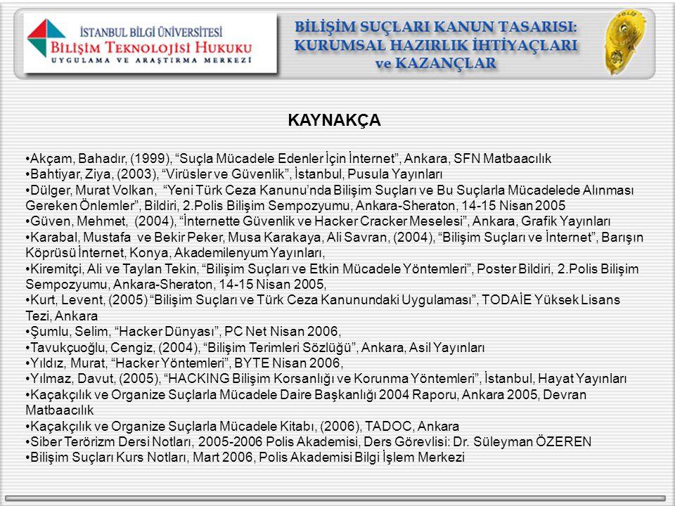 KAYNAKÇA Akçam, Bahadır, (1999), Suçla Mücadele Edenler İçin İnternet , Ankara, SFN Matbaacılık.