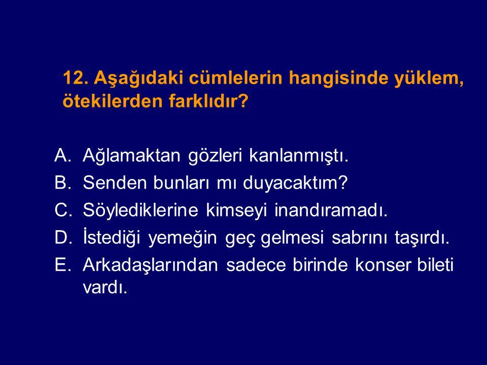 12. Aşağıdaki cümlelerin hangisinde yüklem, ötekilerden farklıdır