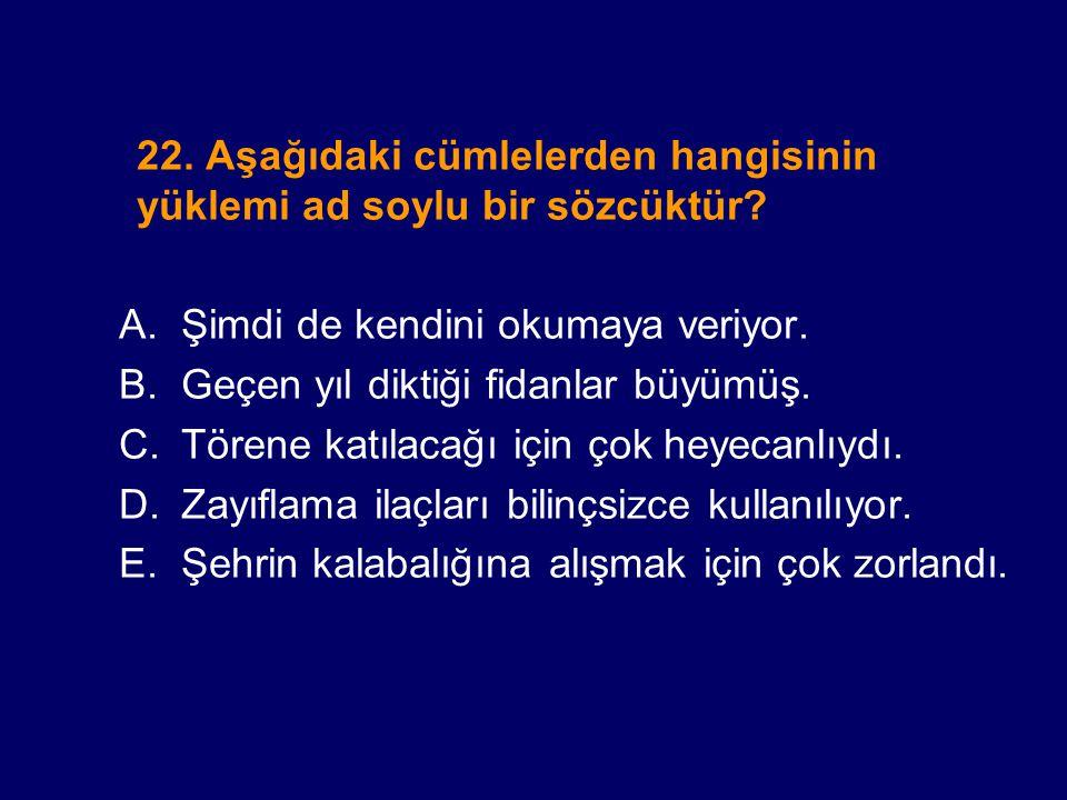 22. Aşağıdaki cümlelerden hangisinin yüklemi ad soylu bir sözcüktür